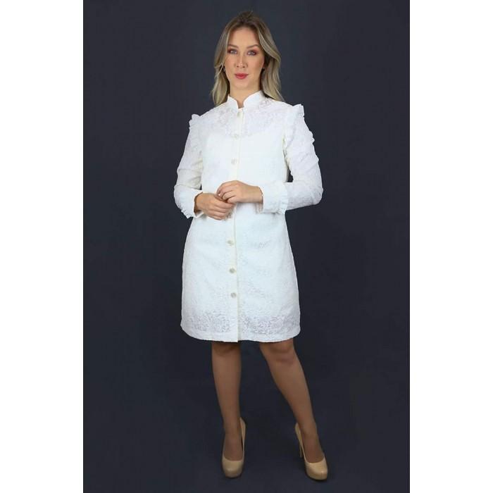 Jaleco Água Marinha  - Luxo Branco - Jalecos Personalizado Feminino
