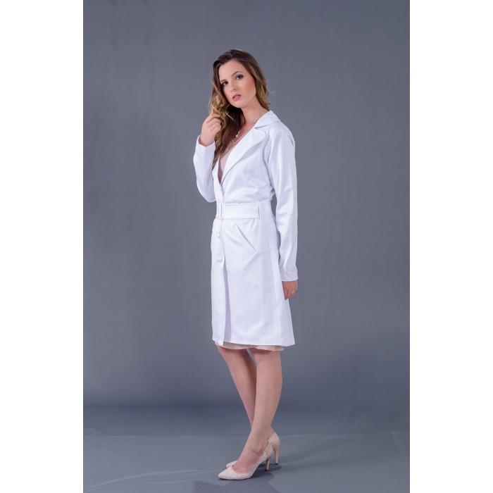 Jaleco Alfaiataria Tricotina  - Luxo Branco - Jalecos Personalizado Feminino