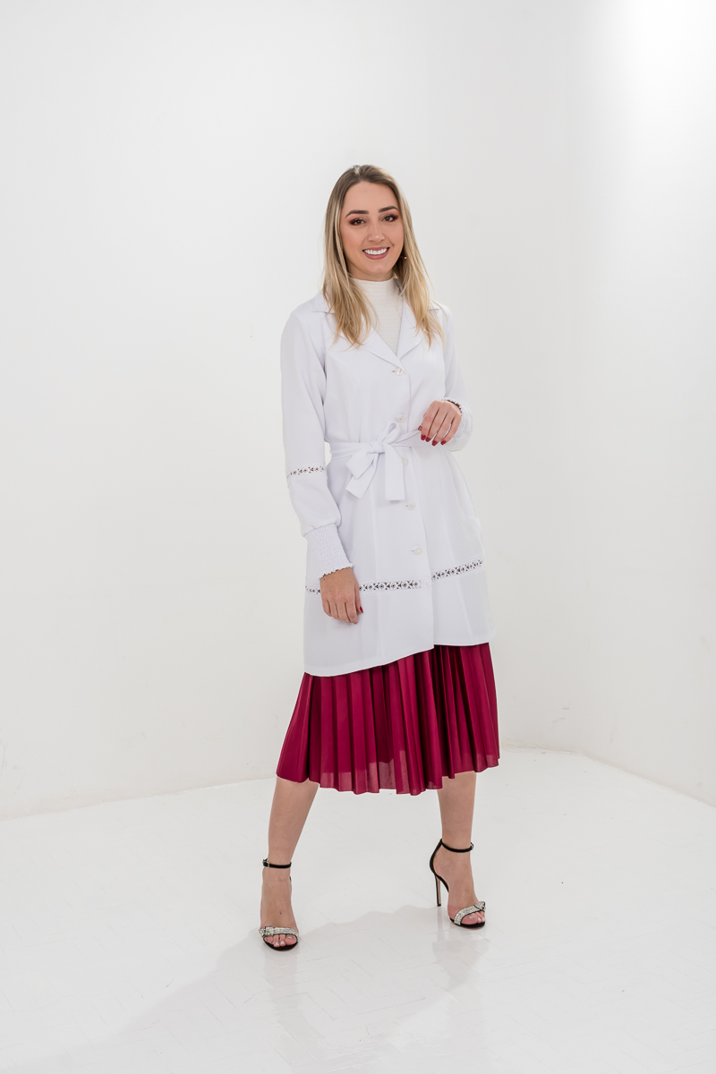 Jaleco Amanda  - Luxo Branco - Jalecos Personalizado Feminino