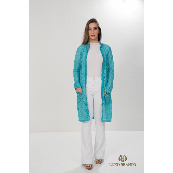 Jaleco Amazonita em Renda Suíça Azul  - Luxo Branco - Jalecos Personalizado Feminino