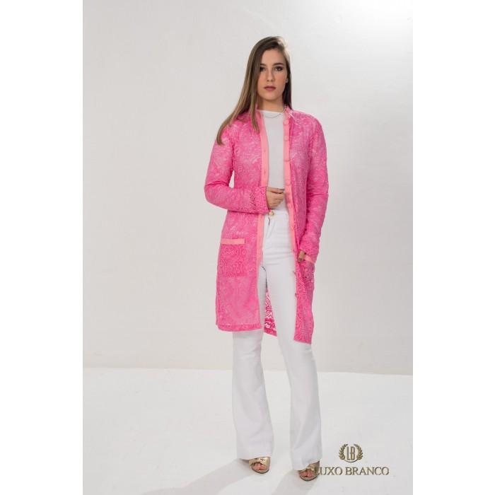 Jaleco âmbar em Renda Suíça Rosa  - Luxo Branco - Jalecos Personalizado Feminino