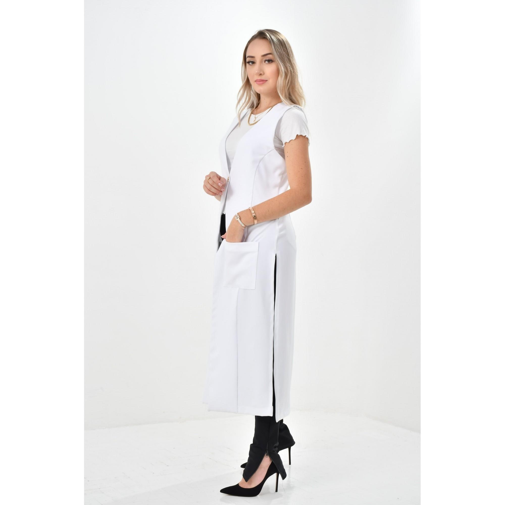 Jaleco Arlete  - Luxo Branco - Jalecos Personalizado Feminino