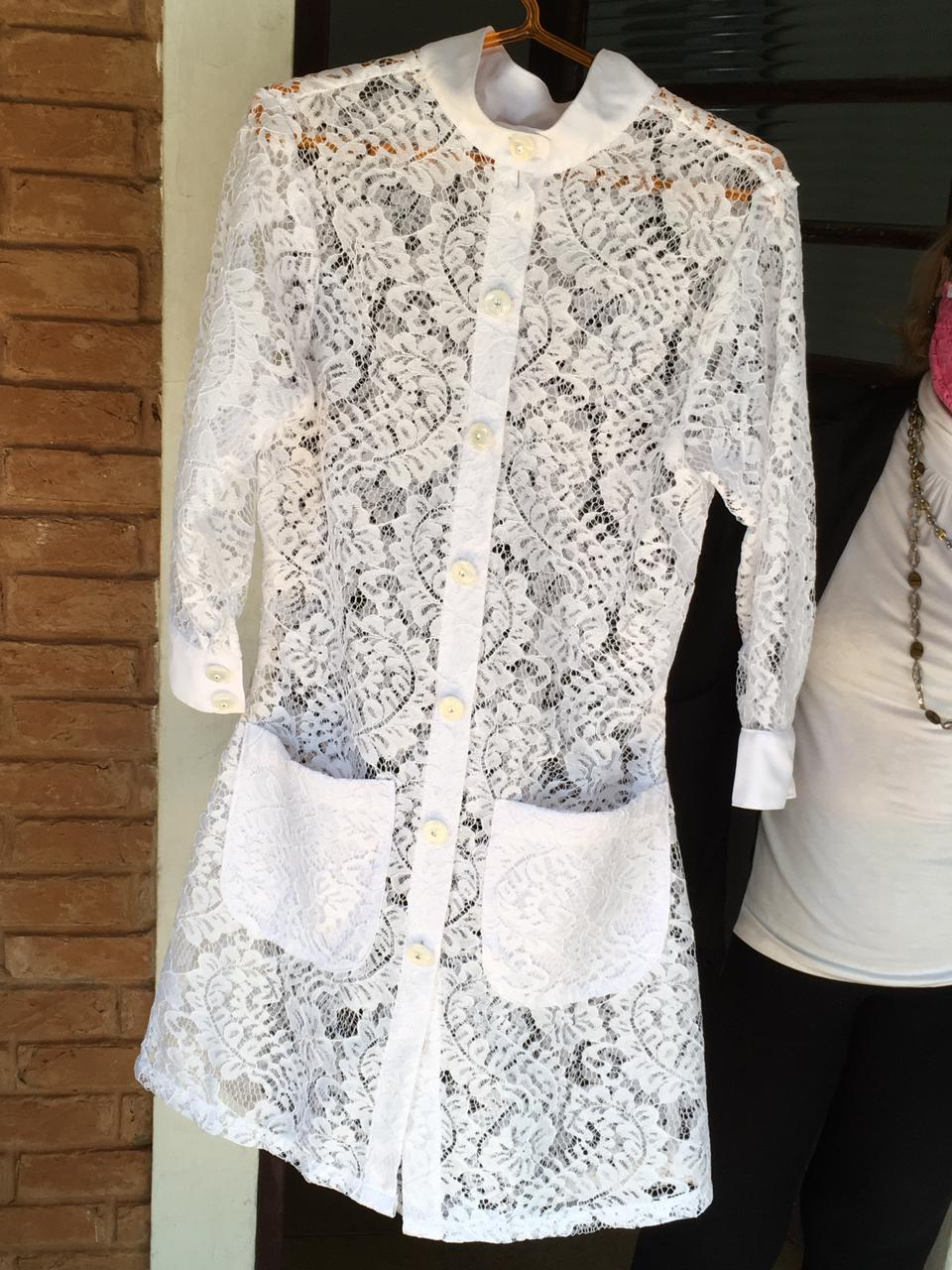 Jaleco Carol  - Luxo Branco - Jalecos Personalizado Feminino