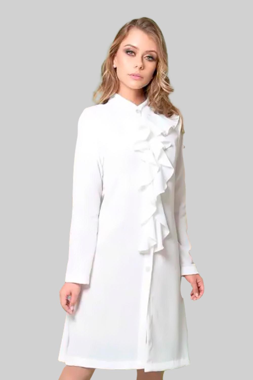 Jaleco Crepe Bubble  - Luxo Branco - Jalecos Personalizado Feminino