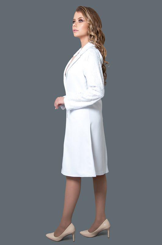 Jaleco Crepe Patu Pascoale  - Luxo Branco - Jalecos Personalizado Feminino