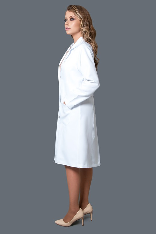 Jaleco Crepe Scuba  - Luxo Branco - Jalecos Personalizado Feminino