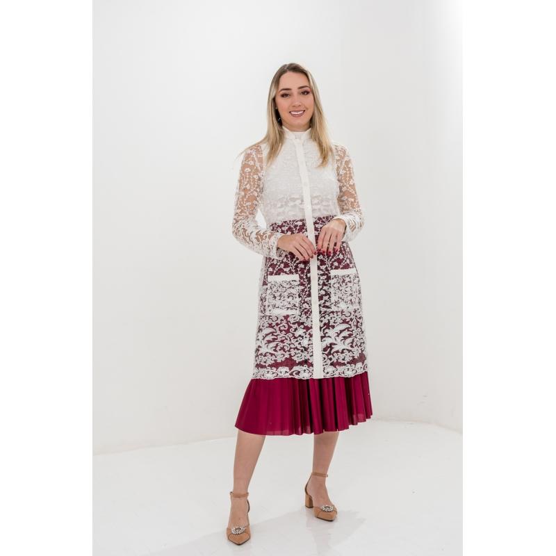 Jaleco Diamante  - Luxo Branco - Jalecos Personalizado Feminino