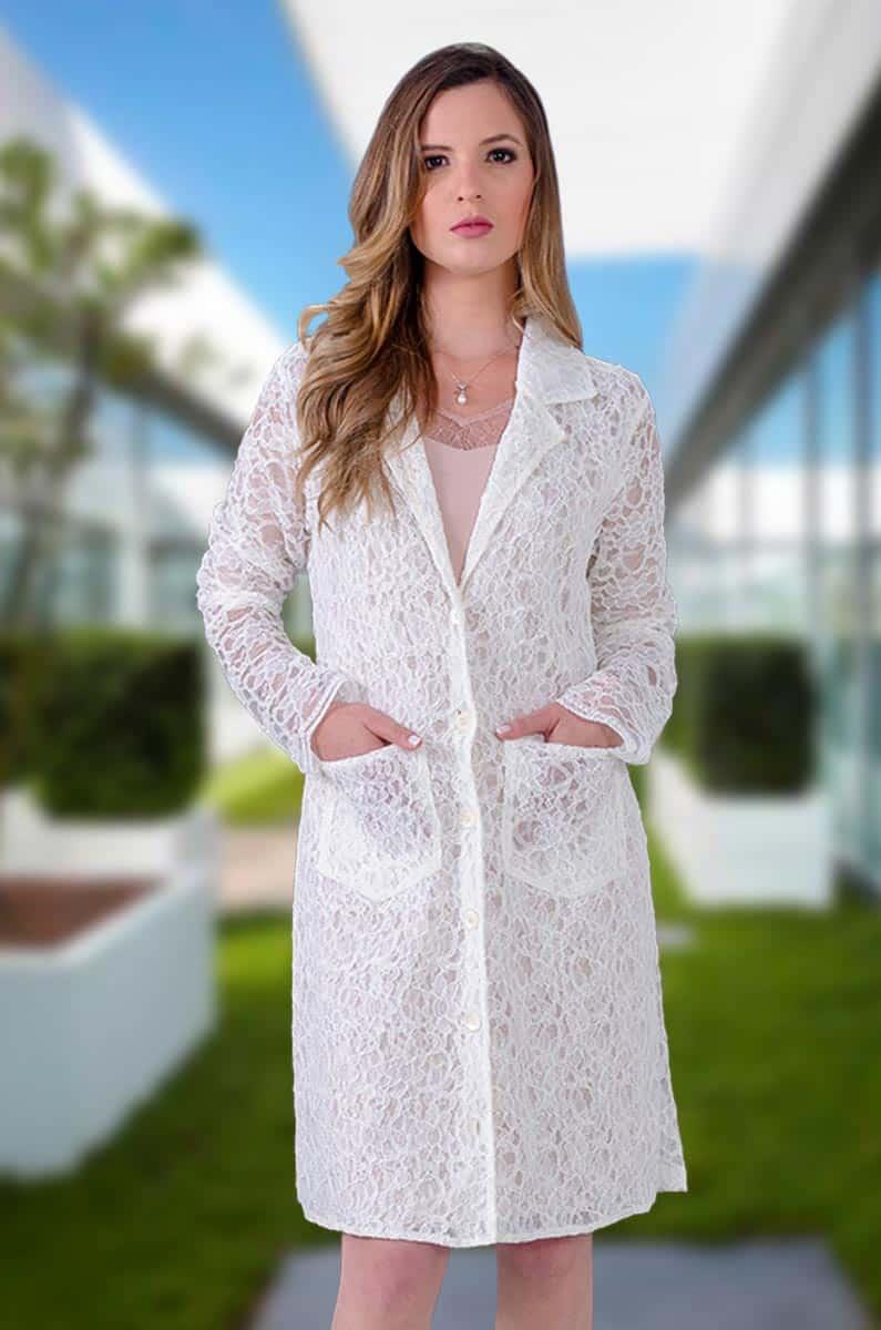 Jaleco em Renda Suíça  - Luxo Branco - Jalecos Personalizado Feminino