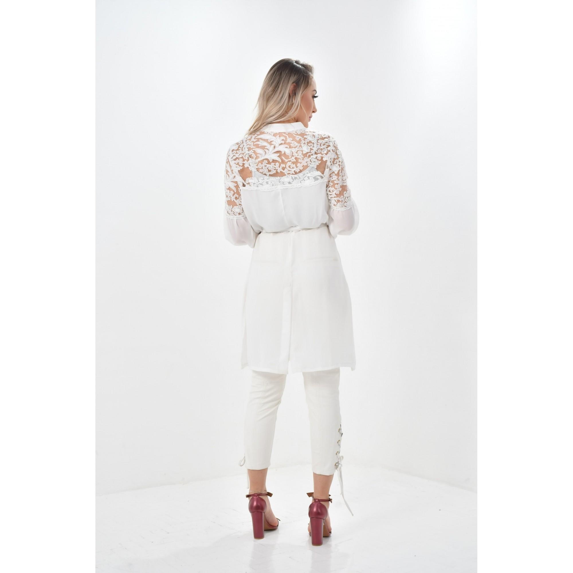 Jaleco Fabiana  - Luxo Branco - Jalecos Personalizado Feminino