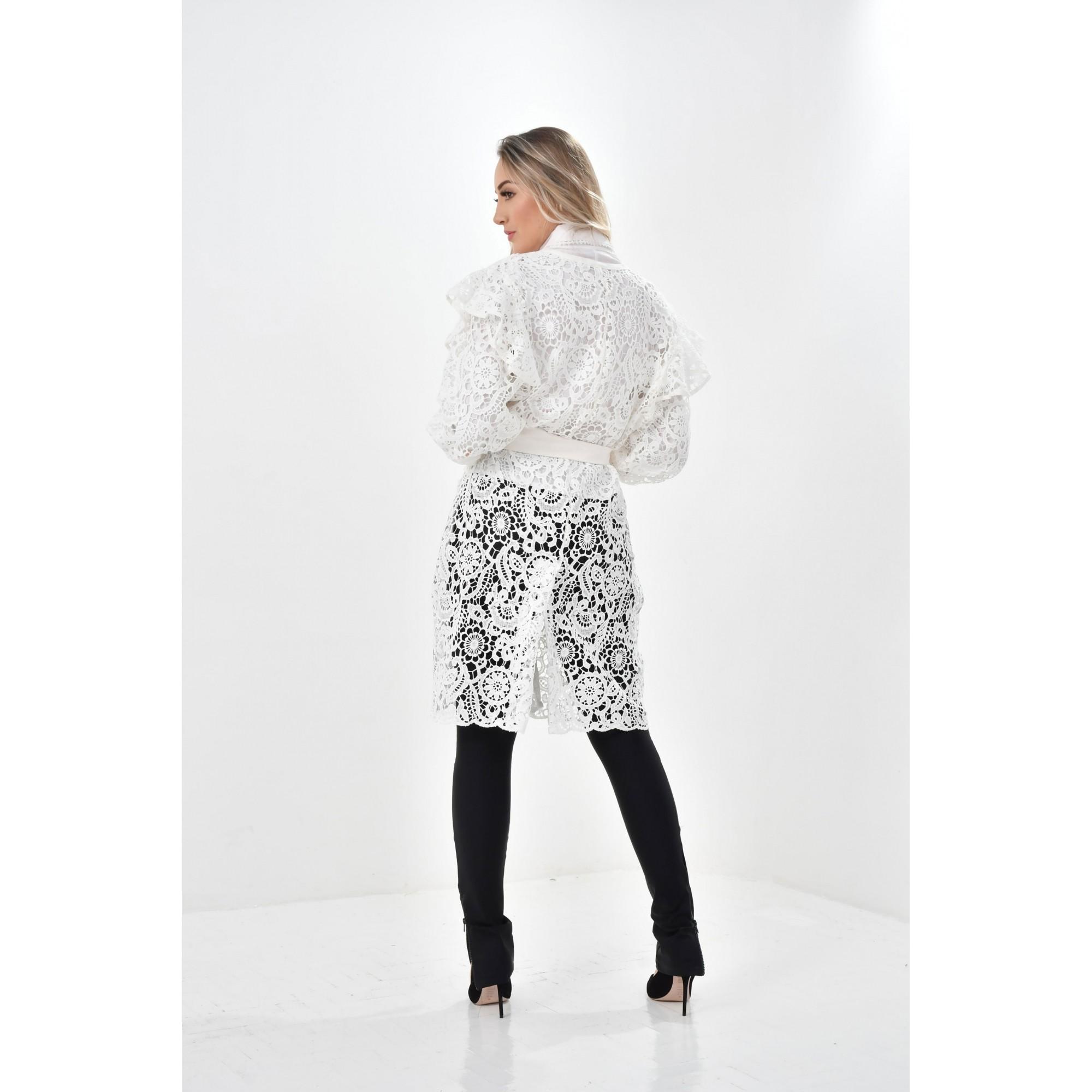 Jaleco Fernanda  - Luxo Branco - Jalecos Personalizado Feminino