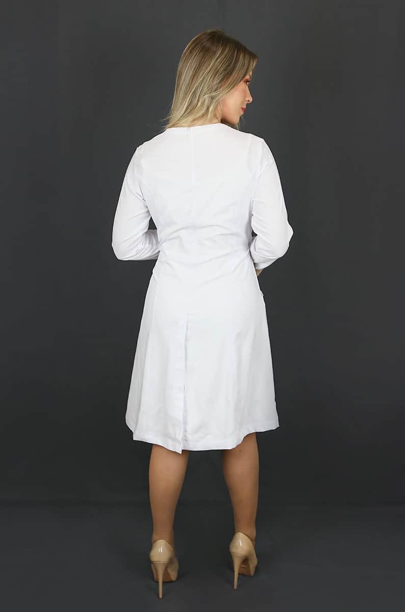 Jaleco Floral  - Luxo Branco - Jalecos Personalizado Feminino