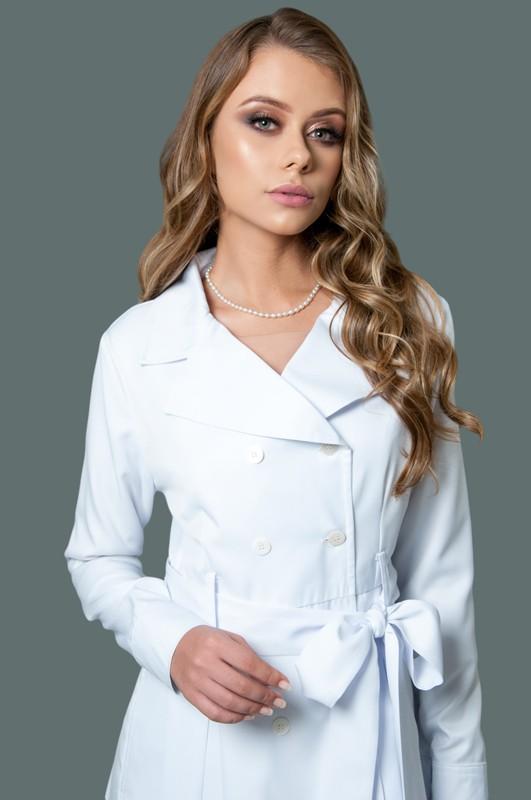 Jaleco Gabardine Estilo Vestido  - Luxo Branco - Jalecos Personalizado Feminino