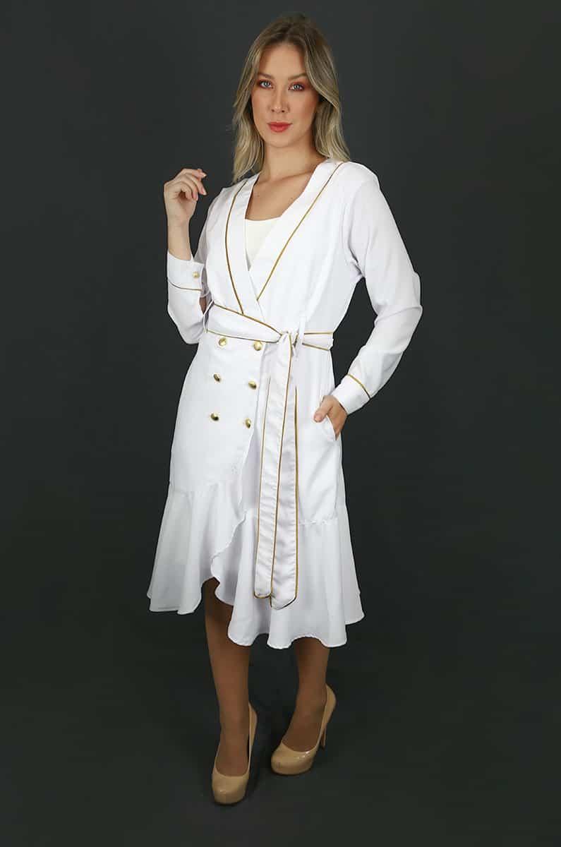 Jaleco Granada  - Luxo Branco - Jalecos Personalizado Feminino