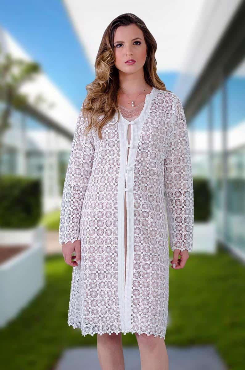 Jaleco Guipir Ava  - Luxo Branco - Jalecos Personalizado Feminino