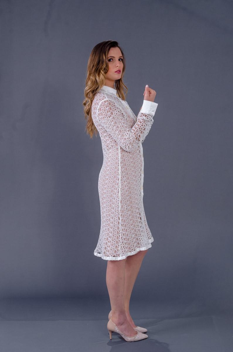 Jaleco Guipir Bordado Collor Light  - Luxo Branco - Jalecos Personalizado Feminino