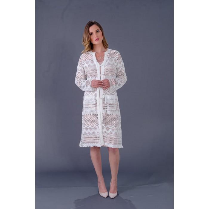Jaleco Guipir Bordado Corsei  - Luxo Branco - Jalecos Personalizado Feminino