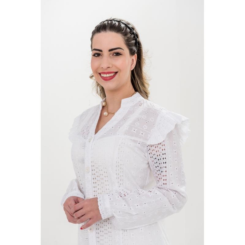 Jaleco Leticia  - Luxo Branco - Jalecos Personalizado Feminino
