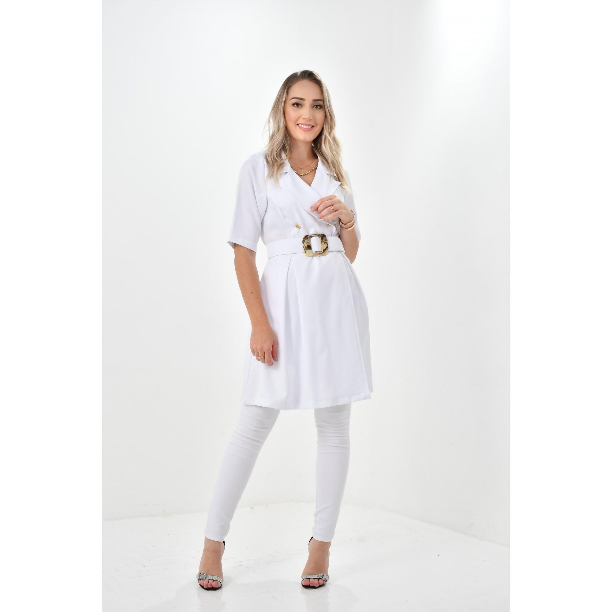 Jaleco Lorenza  - Luxo Branco - Jalecos Personalizado Feminino