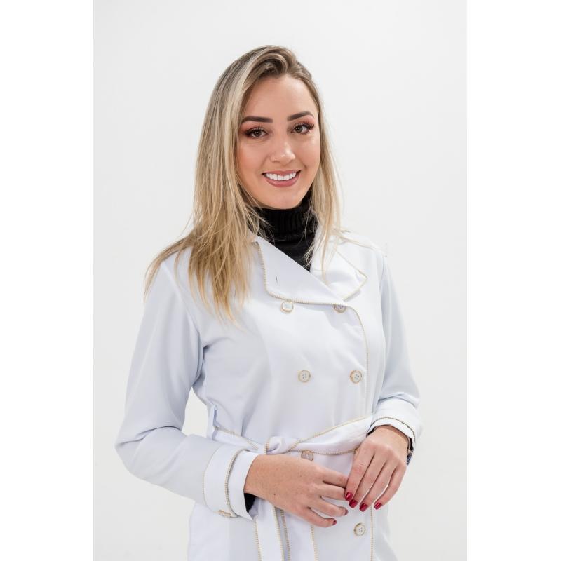 Jaleco Marina  - Luxo Branco - Jalecos Personalizado Feminino