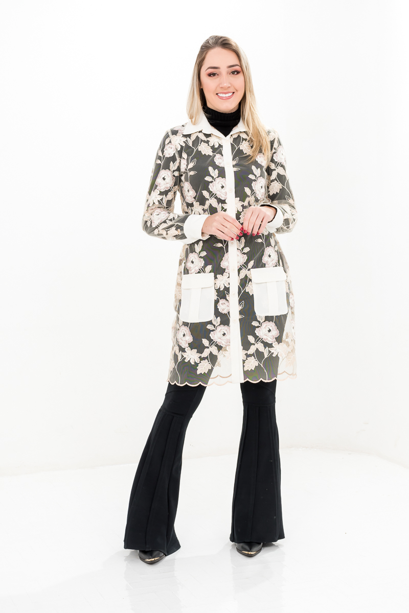 Jaleco Melissa  - Luxo Branco - Jalecos Personalizado Feminino
