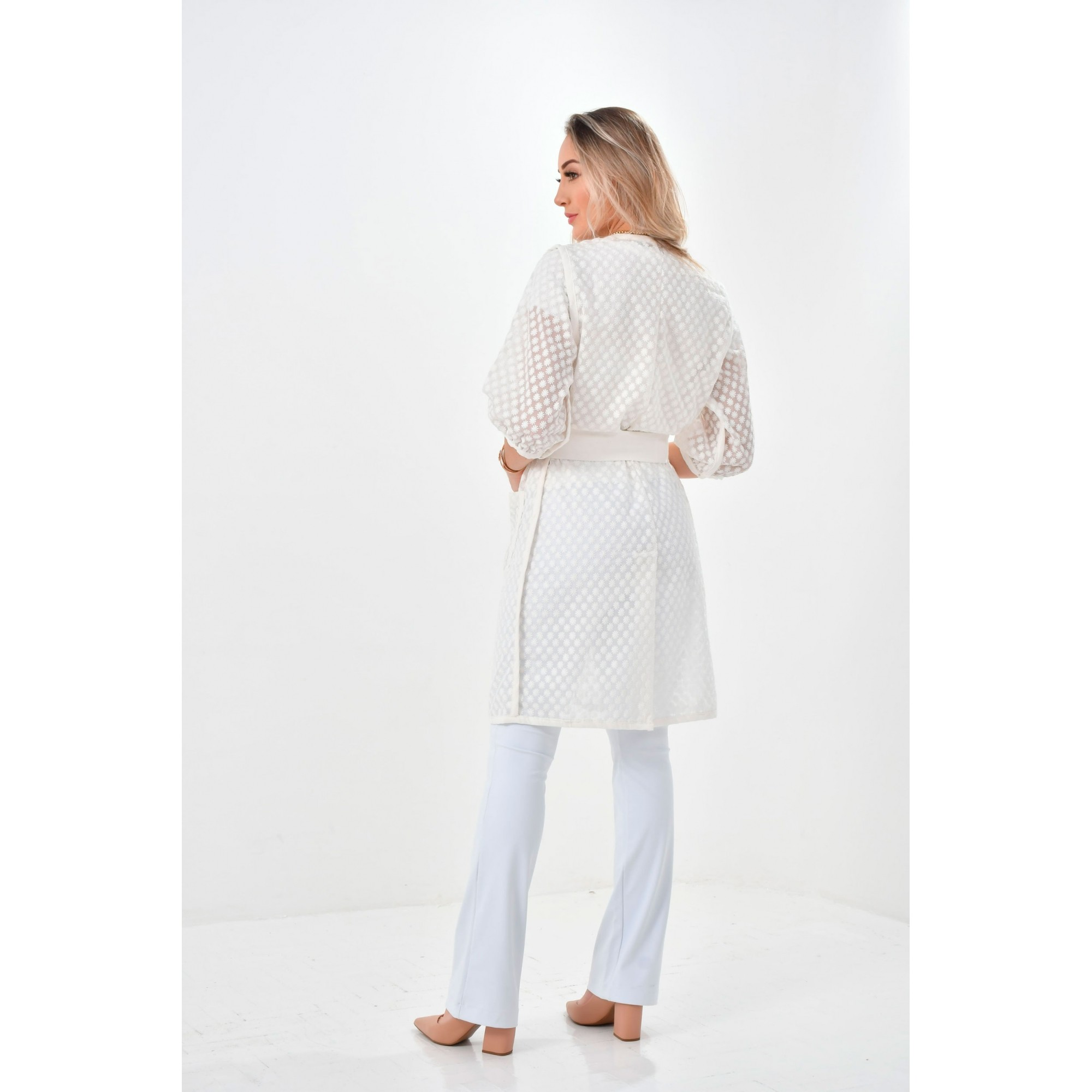 Jaleco Mikaela  - Luxo Branco - Jalecos Personalizado Feminino