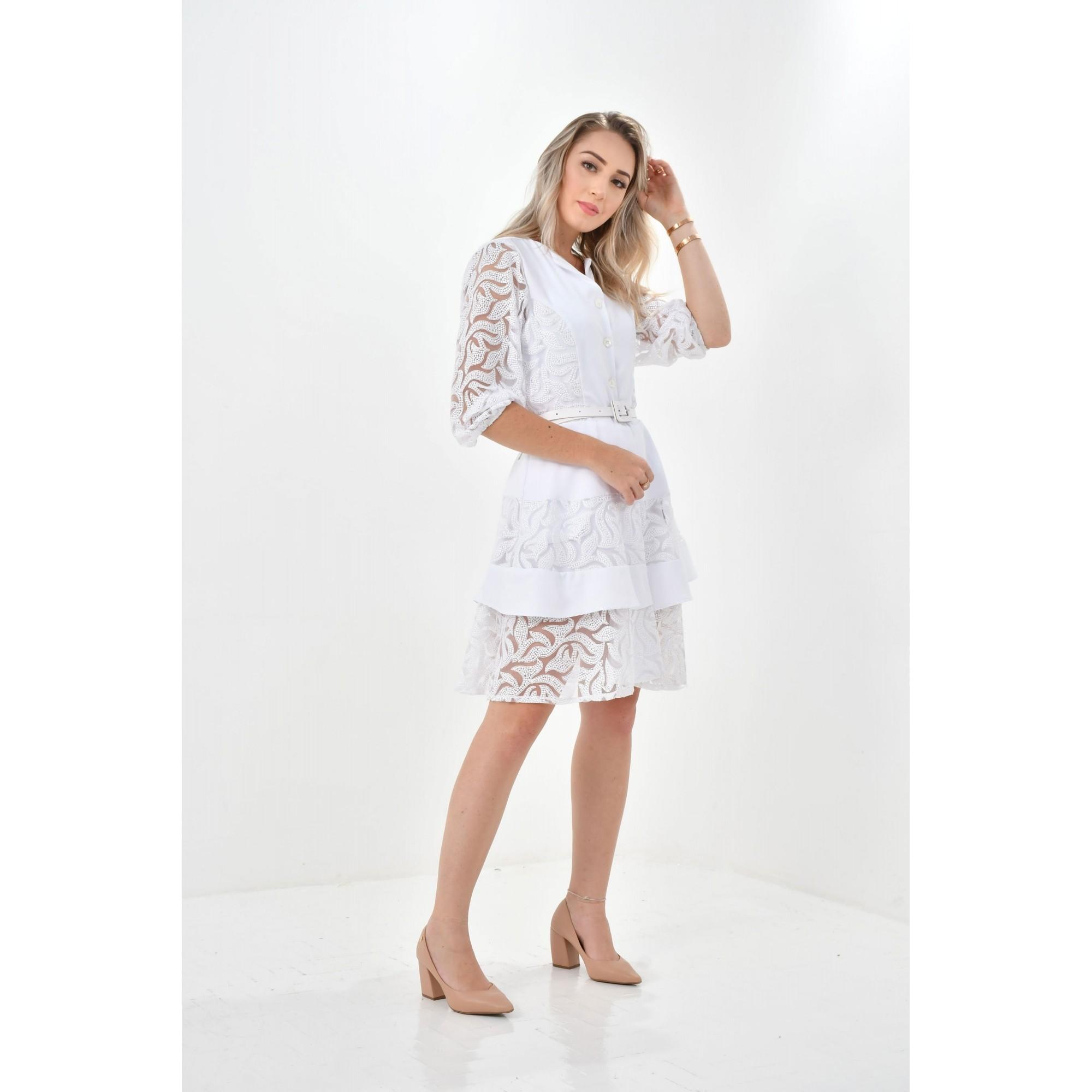 Jaleco Natalia  - Luxo Branco - Jalecos Personalizado Feminino