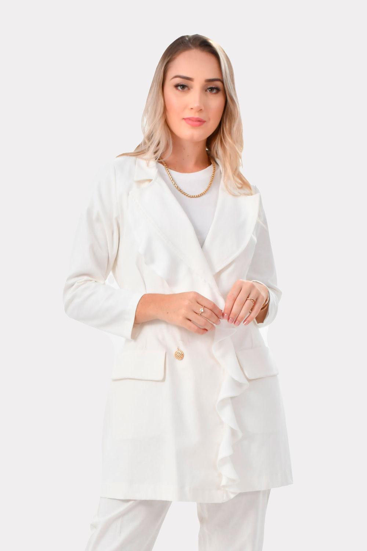 Jaleco Patrícia  - Luxo Branco - Jalecos Personalizado Feminino