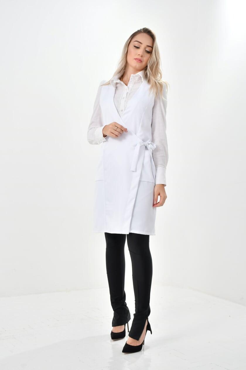 Jaleco Paula  - Luxo Branco - Jalecos Personalizado Feminino