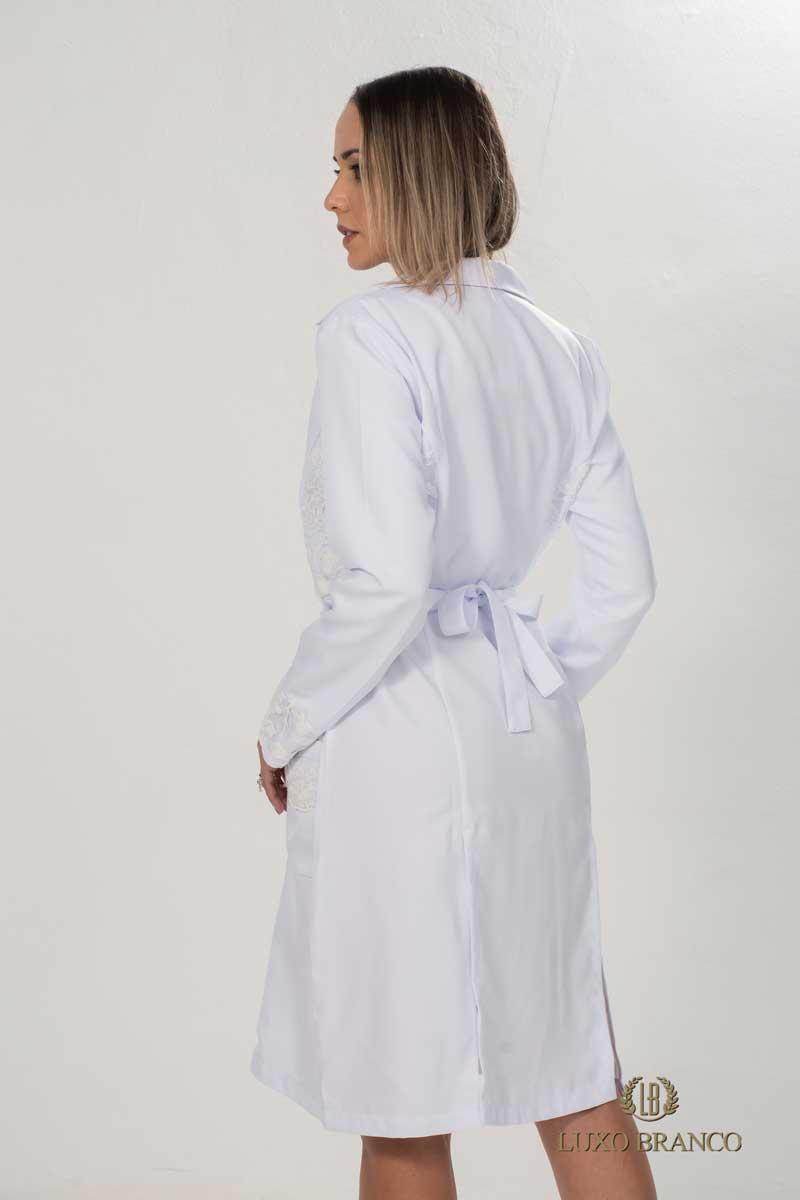 Jaleco Pedra Estrela  - Luxo Branco - Jalecos Personalizado Feminino
