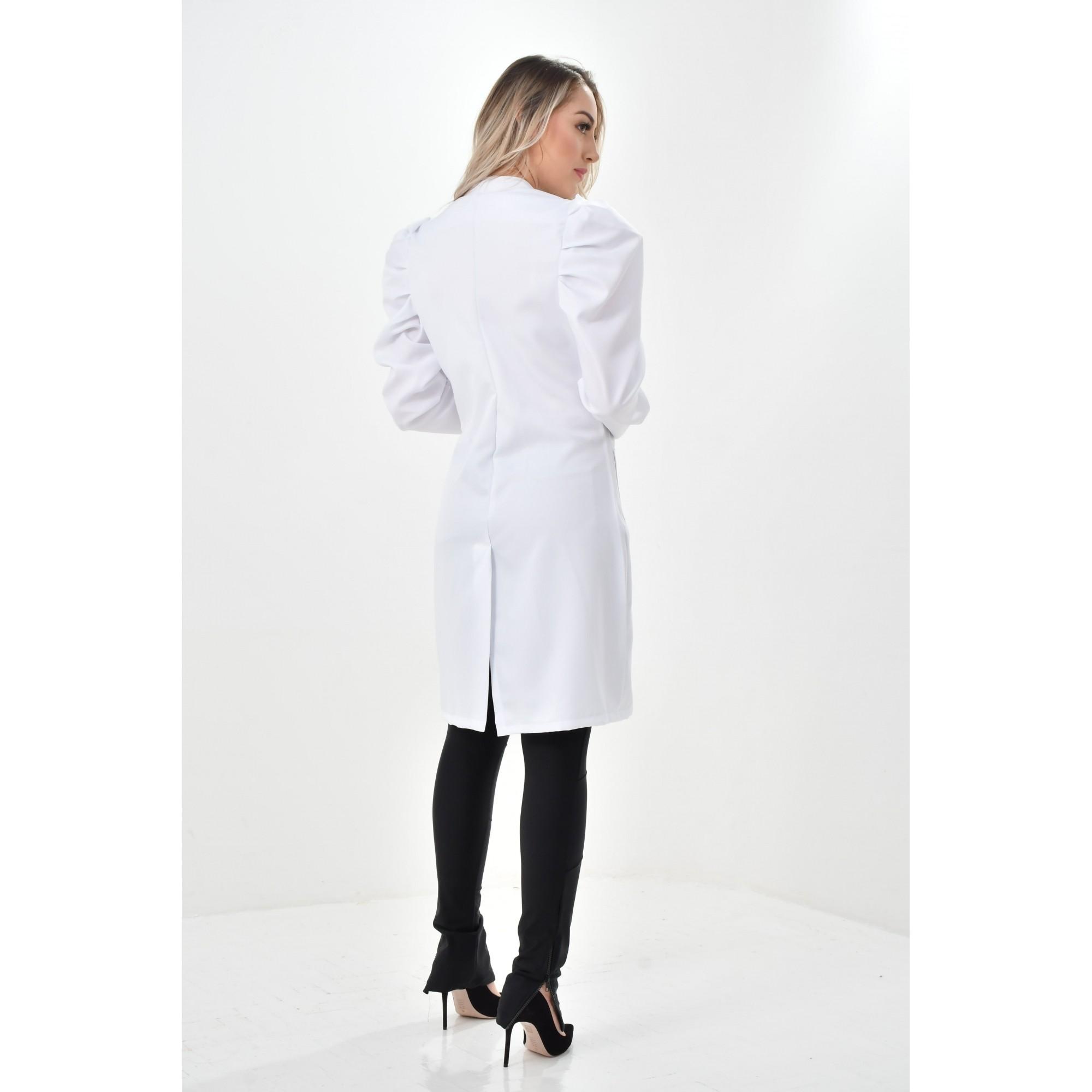 Jaleco Rafaela  - Luxo Branco - Jalecos Personalizado Feminino