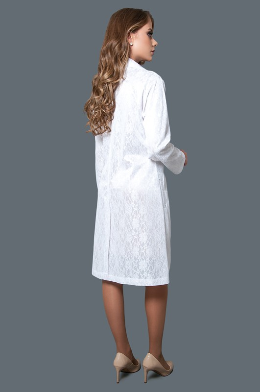 Jaleco Renda Diva Collor Light  - Luxo Branco - Jalecos Personalizado Feminino