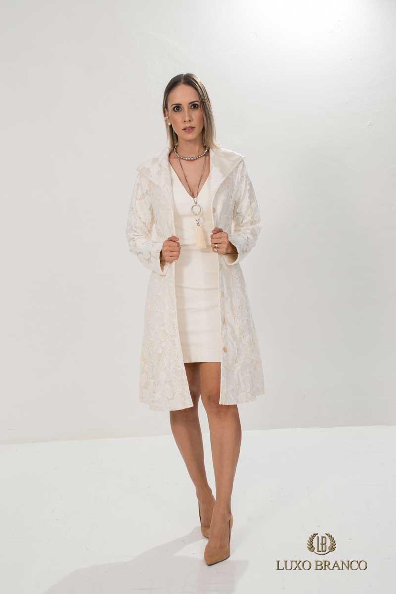 Jaleco Renda Forrada Anabela  - Luxo Branco - Jalecos Personalizado Feminino