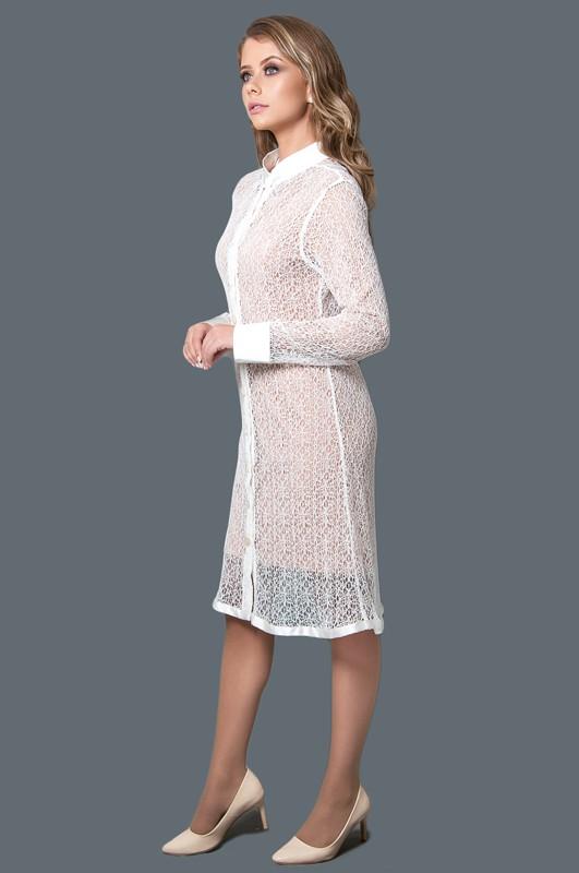 Jaleco Renda Lese Nylon  - Luxo Branco - Jalecos Personalizado Feminino