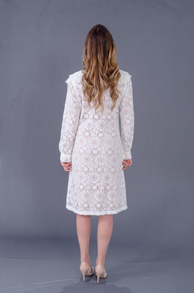 Jaleco Renda Look Flor Bela c/ Babados  - Luxo Branco - Jalecos Personalizado Feminino