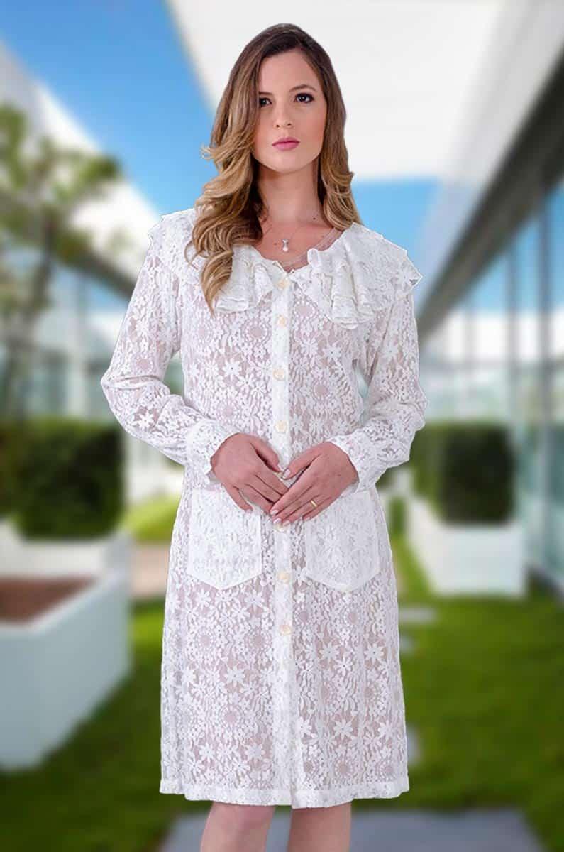 Jaleco Renda Look Flor Bela c/ Gola Padre  - Luxo Branco - Jalecos Personalizado Feminino