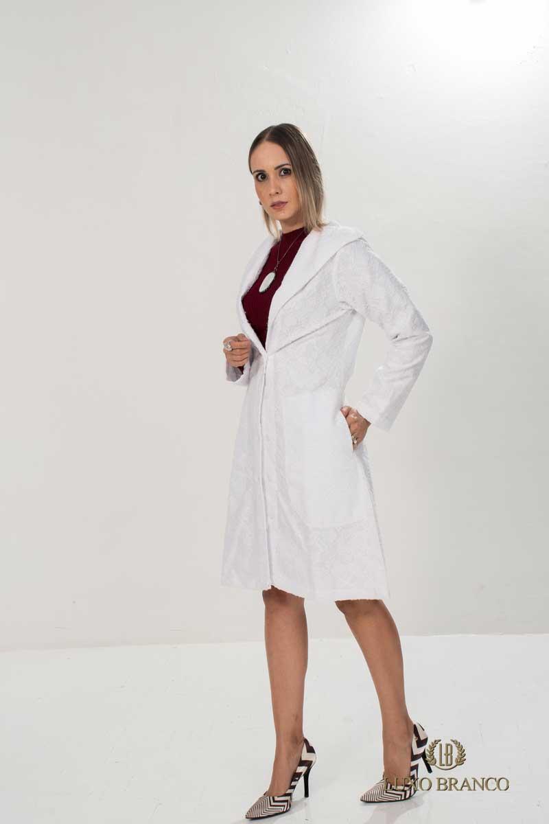 Jaleco Renda Viena Collor Light  - Luxo Branco - Jalecos Personalizado Feminino