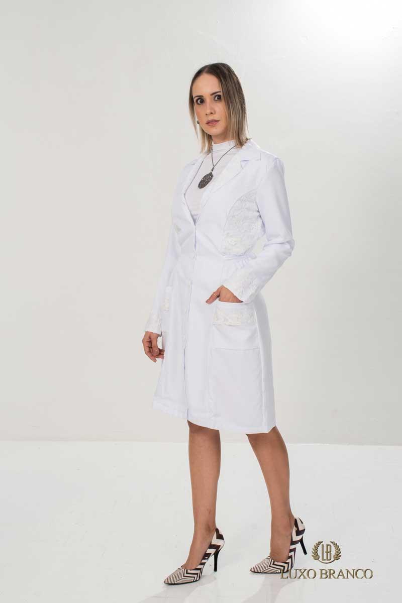 Jaleco Rubelita  - Luxo Branco - Jalecos Personalizado Feminino