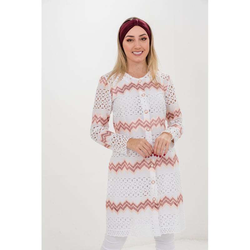 Jaleco Sabrina  - Luxo Branco - Jalecos Personalizado Feminino
