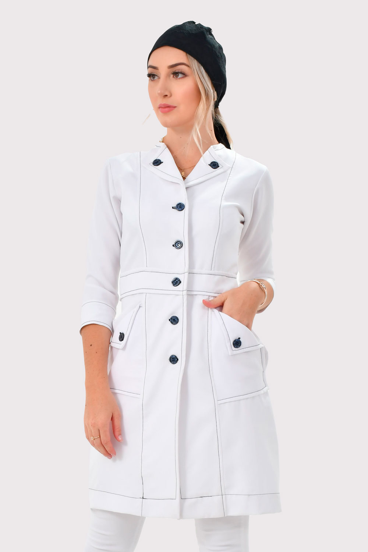 Jaleco Sophia  - Luxo Branco - Jalecos Personalizado Feminino