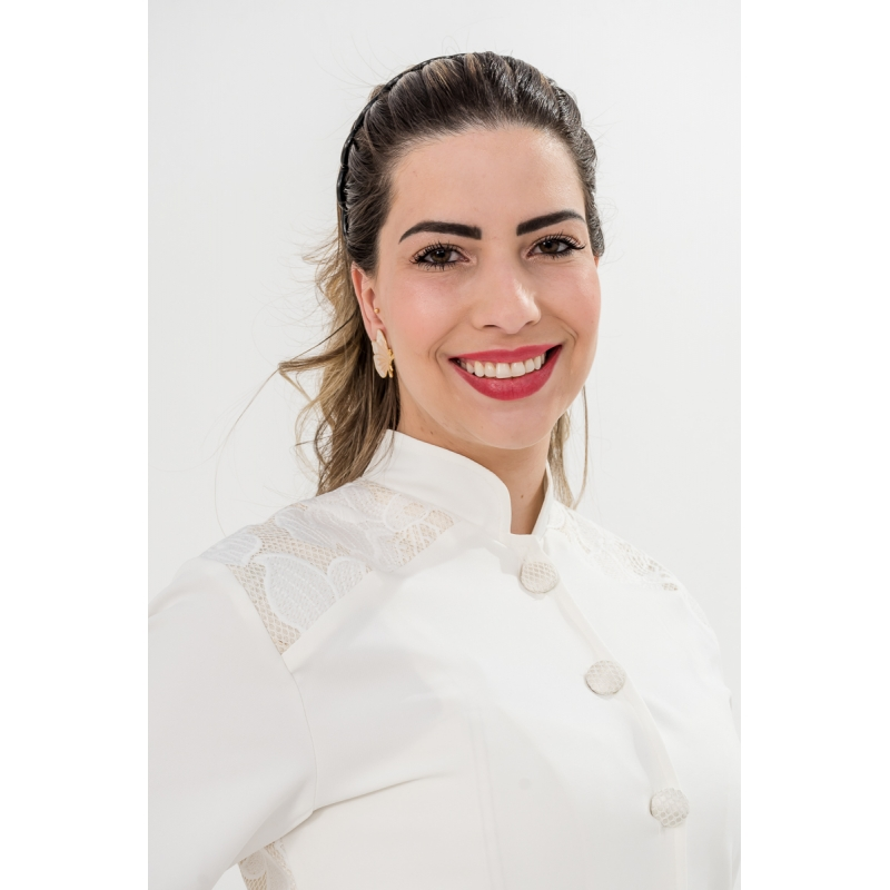 Jaleco Topázio Imperial  - Luxo Branco - Jalecos Personalizado Feminino