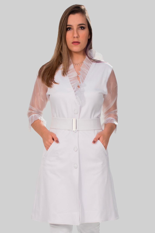 Jaleco Tricotina Com Maga em Organza transparente  - Luxo Branco - Jalecos Personalizado Feminino