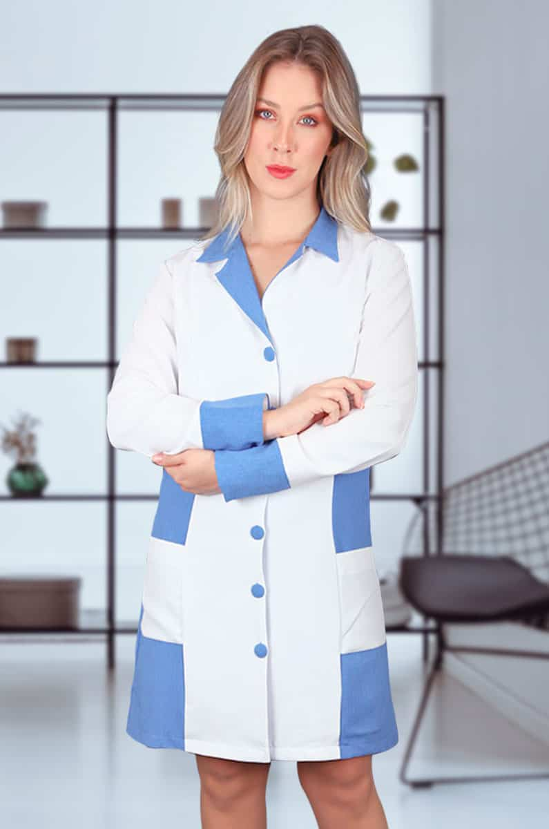 Jaleco Turmalina  - Luxo Branco - Jalecos Personalizado Feminino