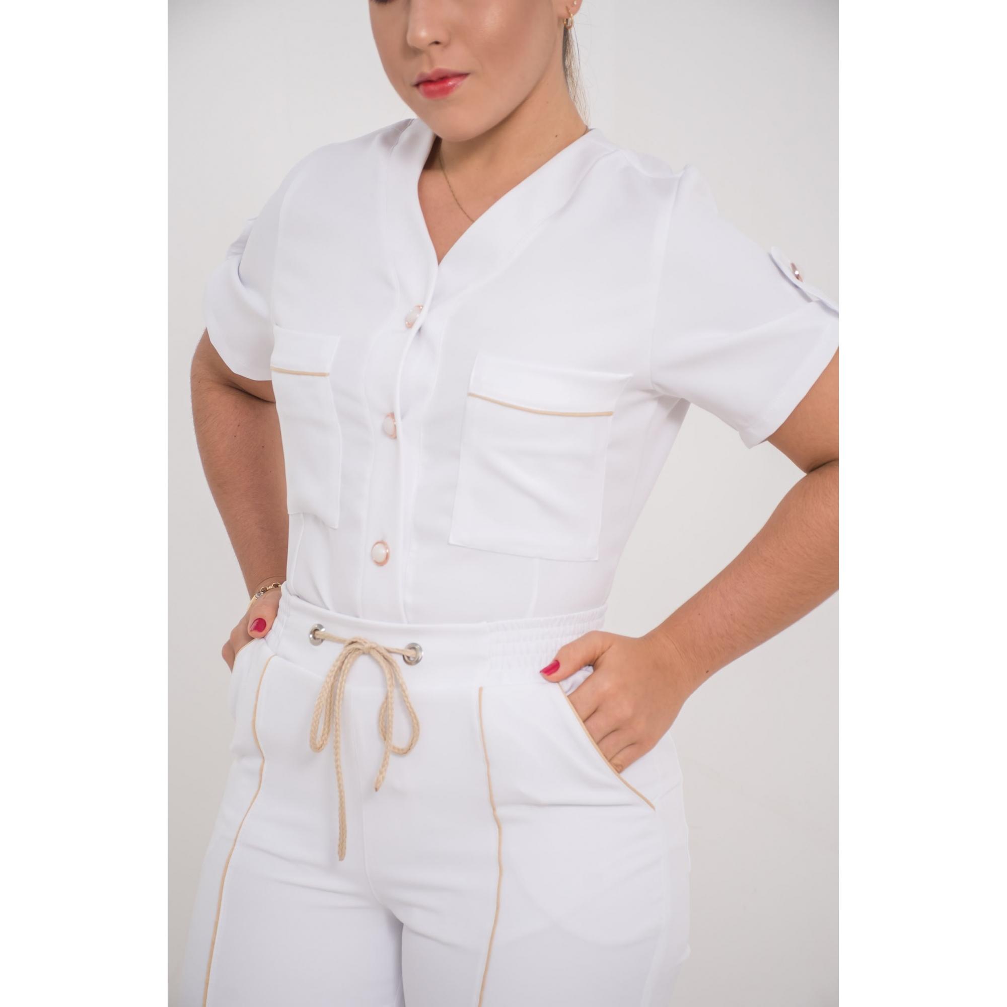 Scrub Feminino Bruna  - Luxo Branco - Jalecos Personalizado Feminino