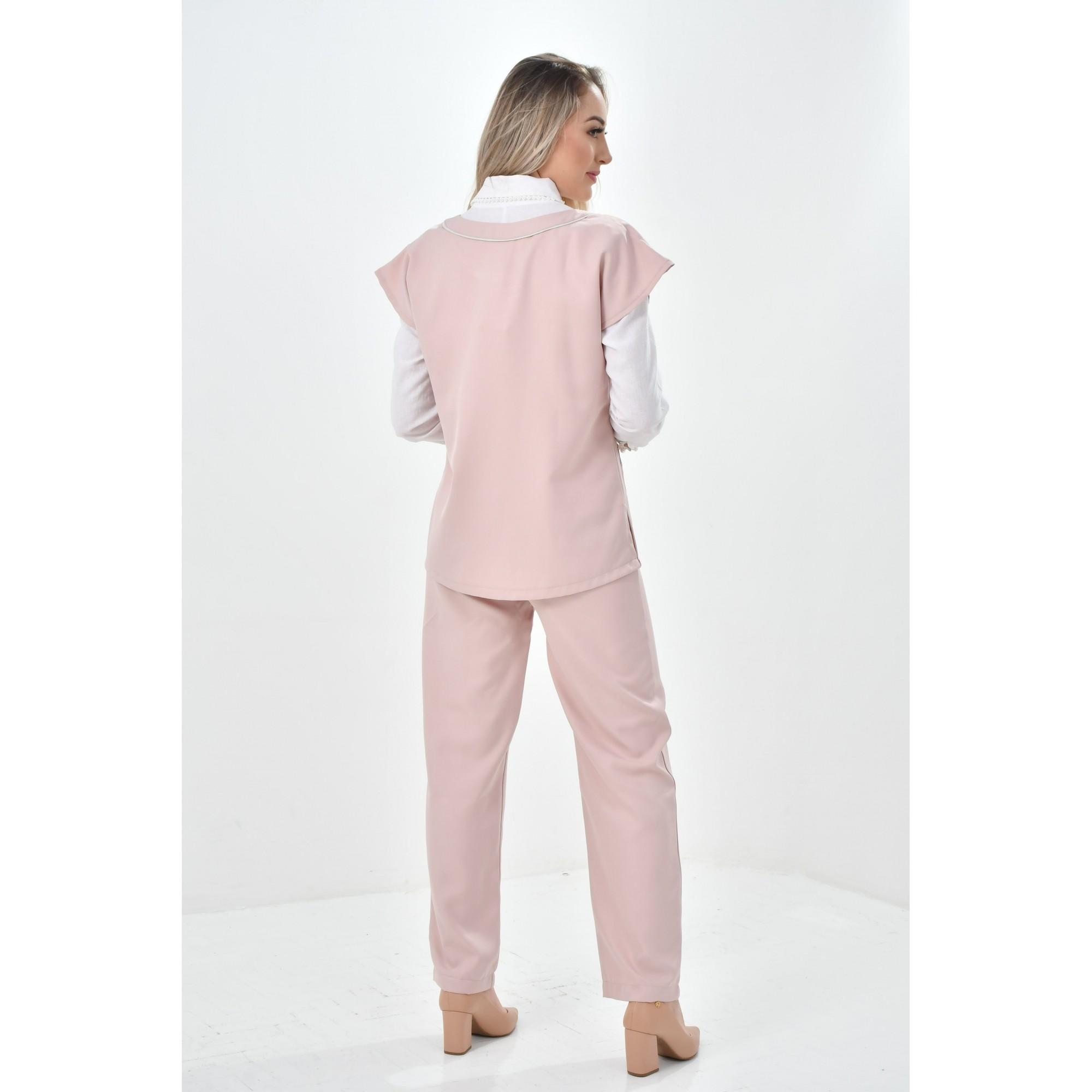 Scrub Feminino Com Decote Redondo  - Luxo Branco - Jalecos Personalizado Feminino