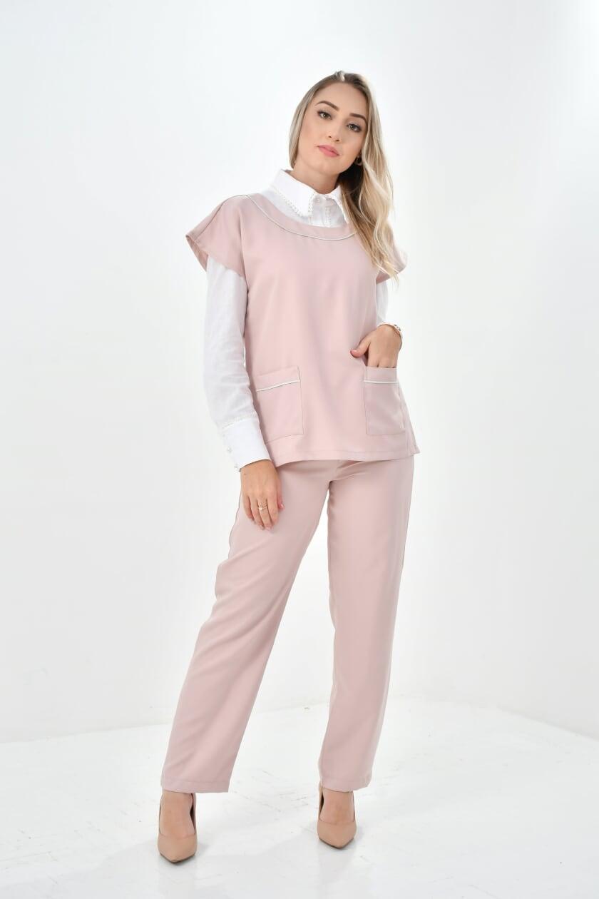 Scrub Feminino Kátia  - Luxo Branco - Jalecos Personalizado Feminino