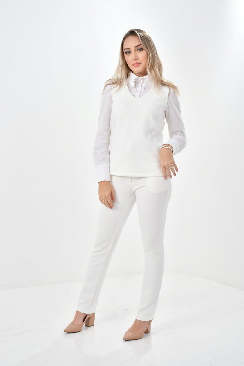 Scrub Feminino malú  - Luxo Branco - Jalecos Personalizado Feminino