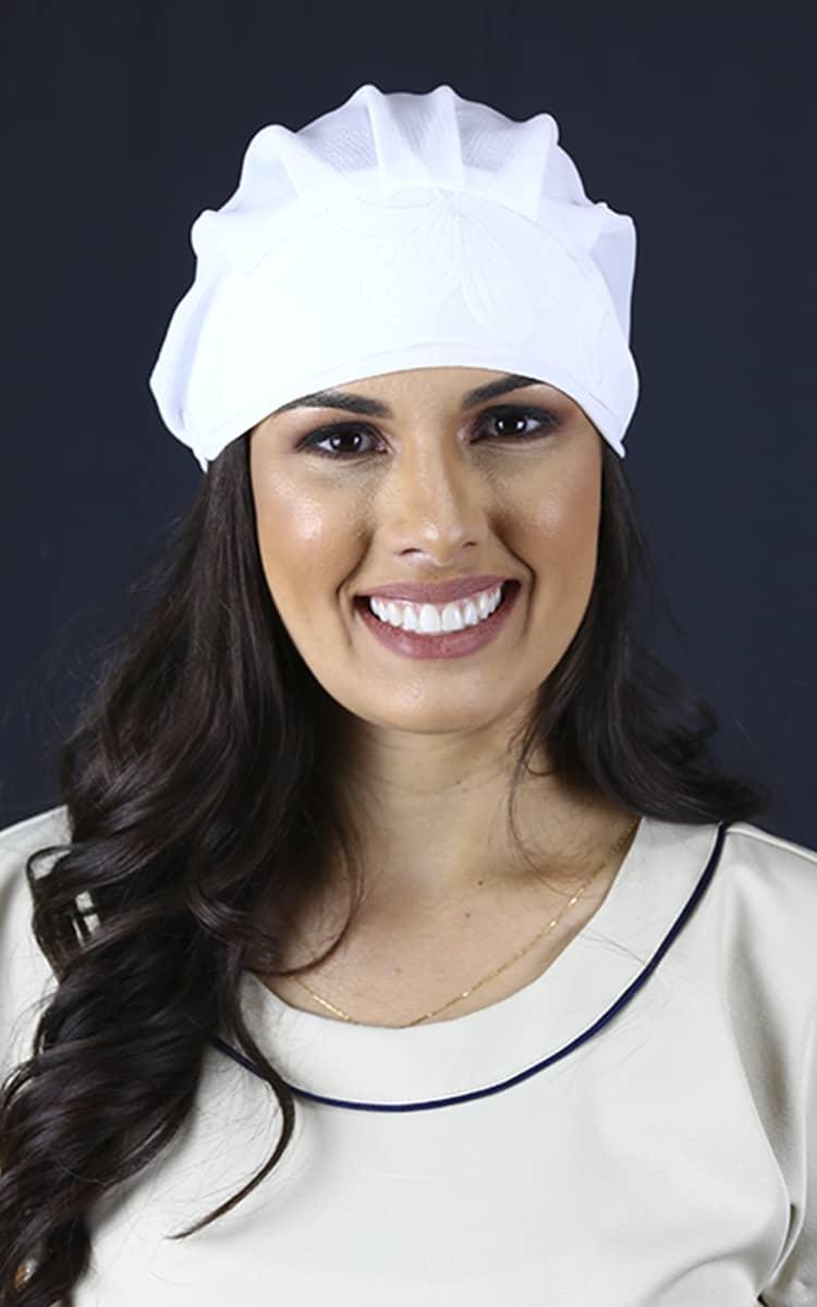 Touca Crepe Buble  - Luxo Branco - Jalecos Personalizado Feminino