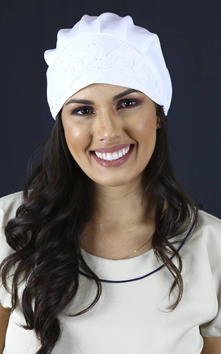 Touca Linho Rústico Azul  - Luxo Branco - Jalecos Personalizado Feminino
