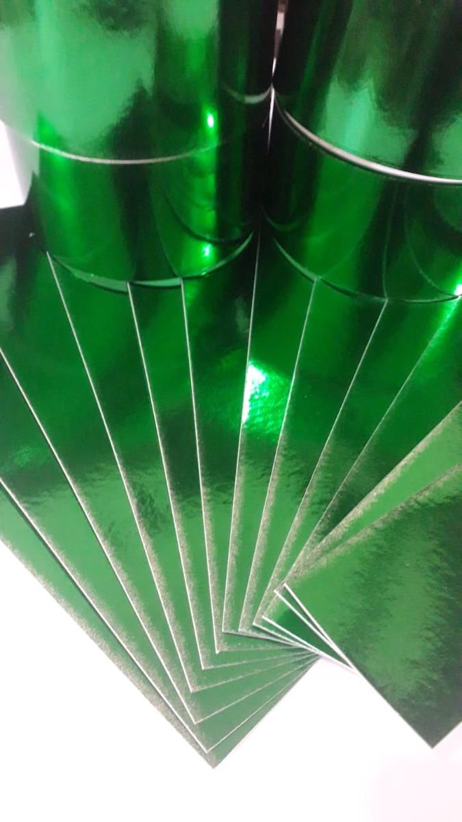 Papel Laminado Verde 250g - c/10 fls Tamanho - 21,0 x 29,7