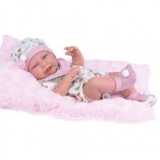Boneca Anny Doll Baby Menina Reborn Macacão Babador Cotiplás